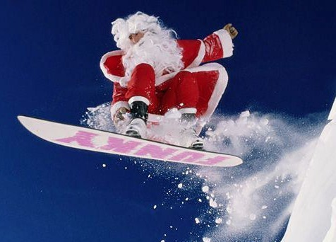 дед мороз на сноуборде, дед мороз на горных лыжах
